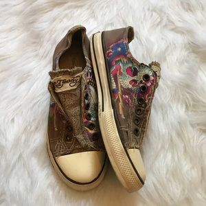 Ed Hardy Brown Skull & Cobra Slip On Shoes 6